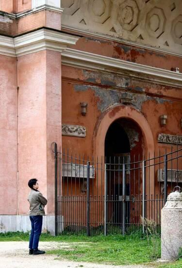 Zhian Yin In Reflection At Villa Pamphili In Rome Italy